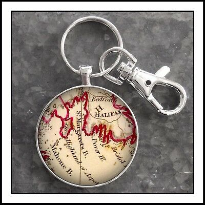 Oak Island Nova Scotia antique map photo keychain famous treasure island 🎁gift