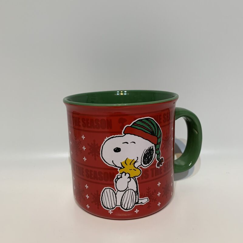 Gibson Peanuts Snoopy Hugging Woodstock Christmas Oversized Coffee Mug Cup - New