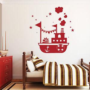 10838 wandtattoo loft aufkleber schiff boot anker maritim steuerrad sterne stars ebay. Black Bedroom Furniture Sets. Home Design Ideas