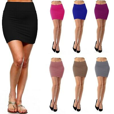 Women's Pencil Mini Skirt Stretch Mid Waist Basic Bodycon Rayon Casual S ~ XL