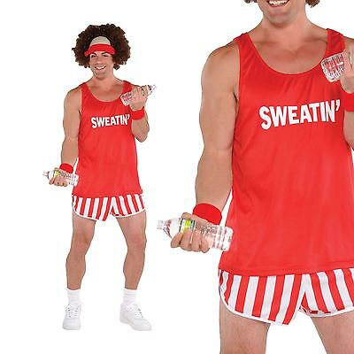 Mens 80s Lets Get Physical Workout Sport Exercise Costume Fancy Dress Outfit (Workout Costume)