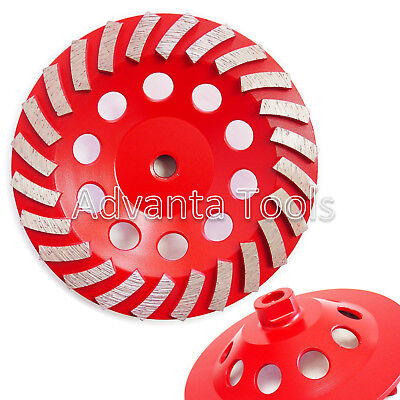 7 Spiral Turbo Concrete Diamond Grinding Cup Wheel 24 Segs 58-11 Arbor