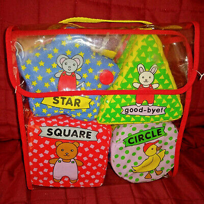 Soft Play Set of 4 Soft Shaped Books Star Triangle Square Circle + Storage Case