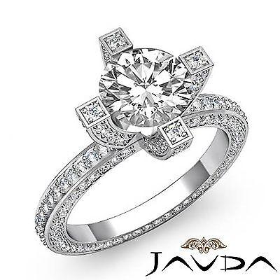Round Diamond Vintage Engagement Eternity Ring GIA F VS2 14k White Gold