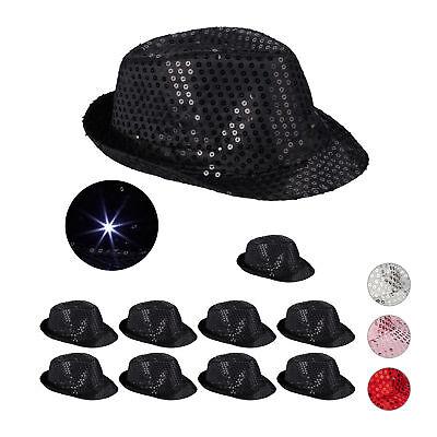 10 x Pailletten Hut schwarz, Partyhut LED, Glitzerhut, Trilby Hut, Hut Glitzer
