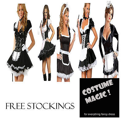 Adult French Maid Costume Outfit Fancy Dress Costume With Stockings Plus Sizes - French Maid Costumes Plus Size