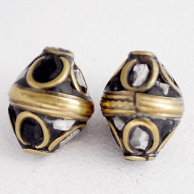 Black White Howlite Brass 2 Beads Tibetan Nepalese Handmade Tibet Nepal UB2421