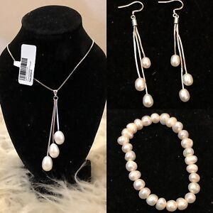 Sterling silver set and Freshwater pearls NEW