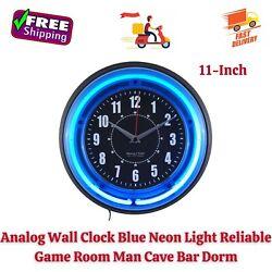 Analog Wall Clock 11 Blue Neon Light Reliable Game Room Man Cave Bar Dorm