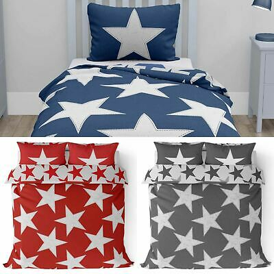 Reversible Duvet Covers Kids Stars Print Bedding Teen Boys Girls Quilt Sets