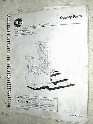 Bt Prime Mover Wsx 223040 Parts Manual Book Catalog Electric Forklift Truck