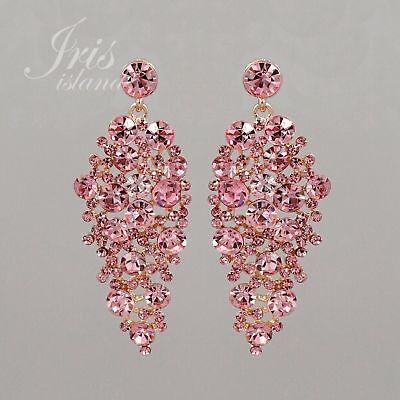 Rose Gold Plated Pink Crystal Rhinestone Wedding Chandelier Dangle Earrings 0938 Gold Rhinestone Earrings