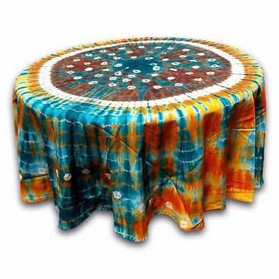 Handmade Cotton Bandhani Tie Dye Mandala Tablecloth 76 inches Round Multicolor (Tie Dye Tablecloth)