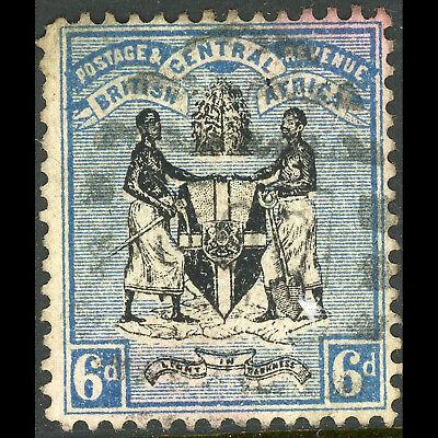 NYASALAND 1896 6d Black & Blue. Wmk Crown CA.. SG 35. Used. (WB641)