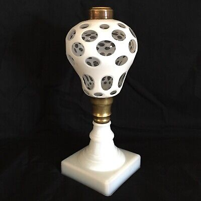 ANTIQUE BOSTON SANDWICH GLASS OIL LAMP - WHITE TO CLEAR CUT GLASS
