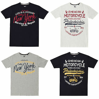 Mens Cotton Crew Neck T-shirt Tee Top Casual American Printed Motorbike M-XXL