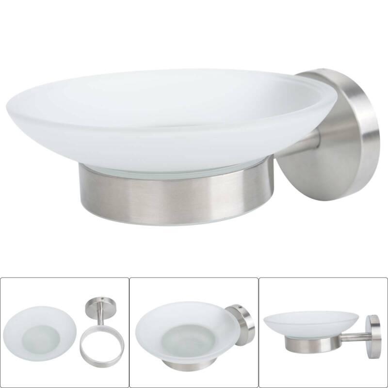 Seifenschale Edelstahl Milchglas Glas Seifenablage Seife Seifenhalter WC Bad