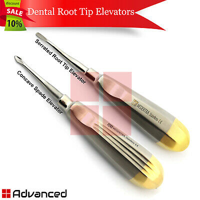 2pcs Dental Tooth Extraction Elevator 77r 60 Surgical Instruments Gold Back