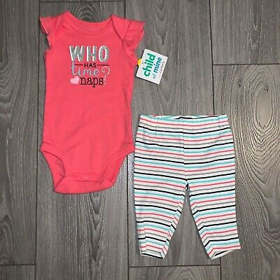 NWT Child Of Mine By Carter's Infant Girl's Body Suit & Pant Set