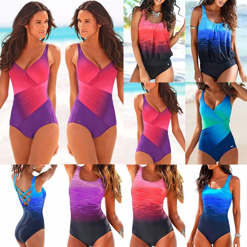 Damen Tankini Set Push Up Bikini Badeanzug Monokini Tie Dye Bademode Padded Sexy