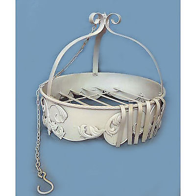 Shabby Chic Ornate White Metal Iron Hanging Round House Plant Pot Display Holder