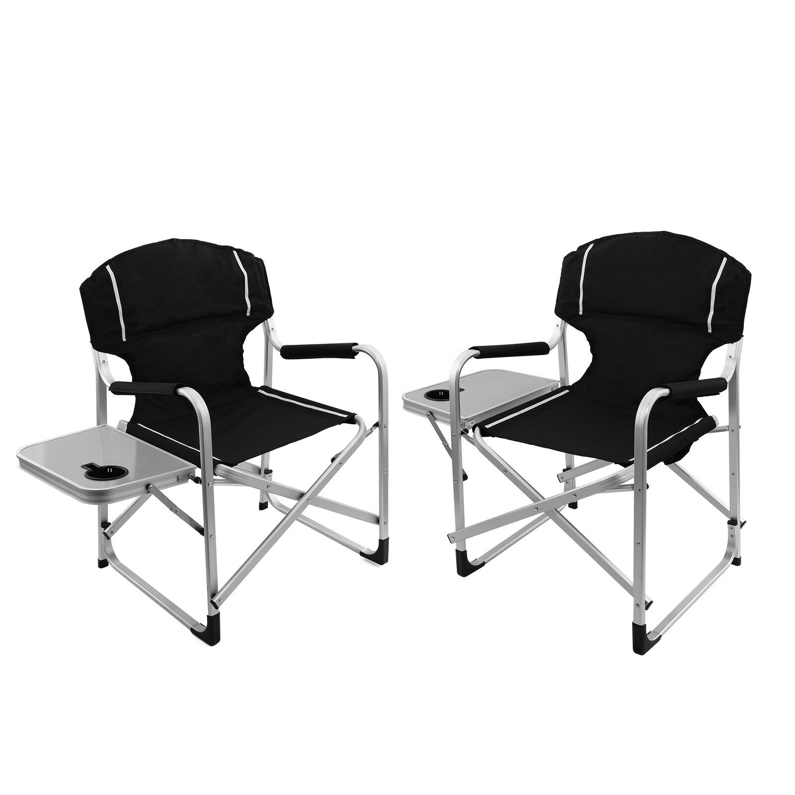 2pc Folding Director's Chair Aluminum Camping Lightweight Chair with Side Table