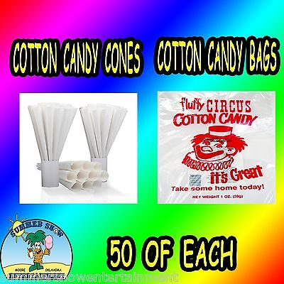 50 Cotton Candy Bags-50 Cotton Candy Cones Plain Concession Fair Supply