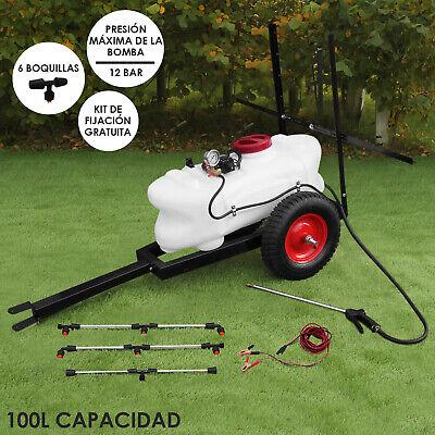 100L ATV Pulverizador Remolque Eléctrico 12V Tanque Lanza Manual 6 Boquillas