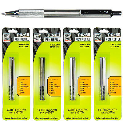 Zebra F-701 Ballpoint Pen Black Ink 0.7mm With 4 Packs 85512 F Refills