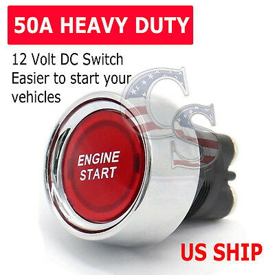 Universal 12V Car Red Illuminated Engine Start Switch Push Button Race Starter