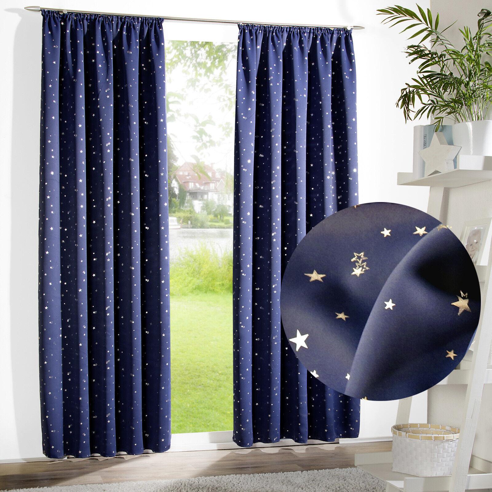 Dekoschal Kindergardine Verdunklungsgardine Vorhang blau silber Sterne Typ693