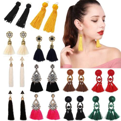 Women Fashion Rhinestone Long Tassel Dangle Earrings Fringe Drop Jewelry Gift UK
