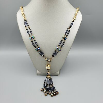 60s -70s Jewelry – Necklaces, Earrings, Rings, Bracelets 1960s Unsigned Gold Tone and Black AB Bead Sautoir Necklace 24
