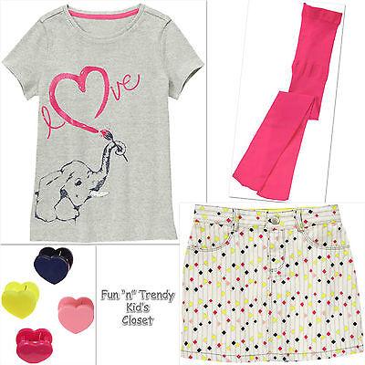 NWT 4-PC SET Gymboree BRIGHT IDEAS Girls Size 5 or 6 Skirt Shirt Top Tights Hair