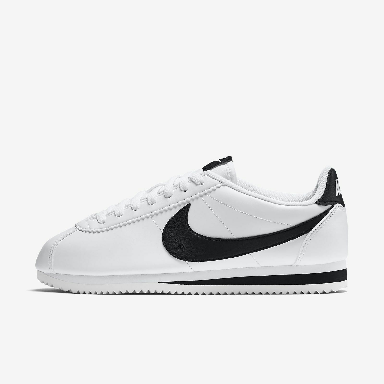 New Nike Women's Classic Cortez Leather Shoes (807471-101) White//Black