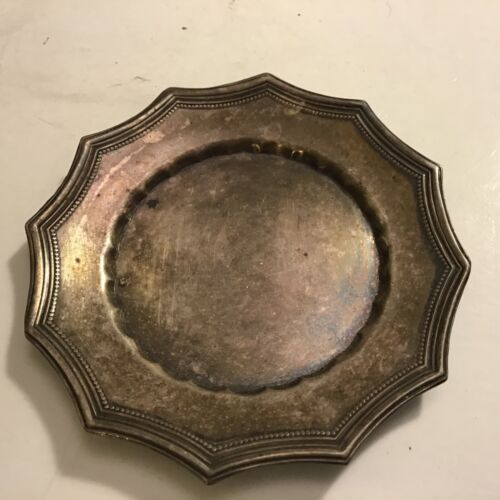 """Vintage Silver Plate Small Shallow Dish Tray Trinket 3"""""""