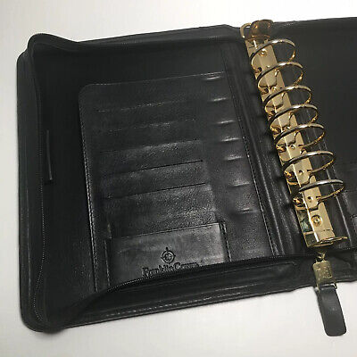 Franklin Covey Black Nappa Leather Classic Planner Organizer Made In Usa
