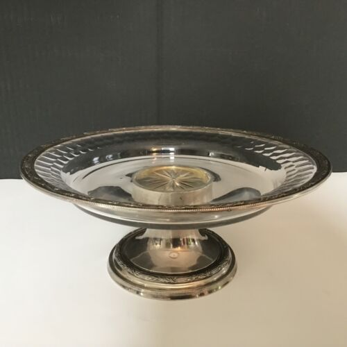 A Beautiful Antique French silver and crystal footed compote / tazza