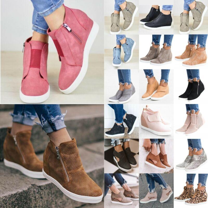 Womens Ankle Boots Booties Sneakers Hidden Wedge High Heel T