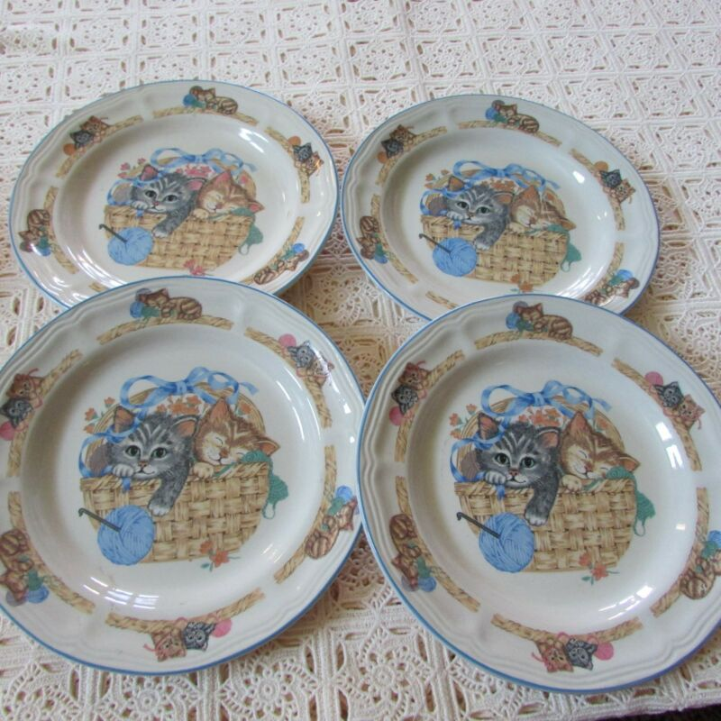 "Set of 4 Tienshan ""Purrfect Friends"" Collection Stoneware Salad/Luncheon Plates"