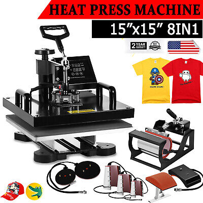 15x15 8 In 1 Combo T-shirt Heat Press Transfer Machine Sublimation Swing Away