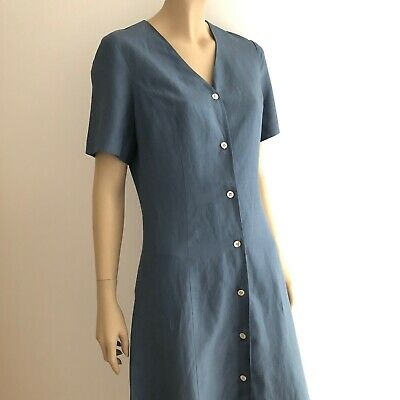 Vintage 80s Laura Ashley Silk/linen Blue Button Up Tea Dress * Size 12