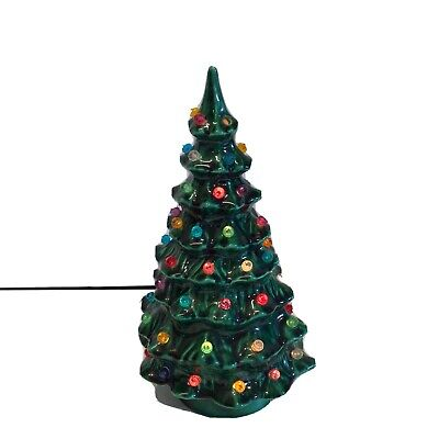 "Vintage Ceramic Christmas Tree Light Up Decoration 9"" Hand painted 1975"