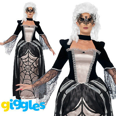 Black Widow Baroness Costume Womens Ladies Scary Spider Web Fancy Dress Outfit
