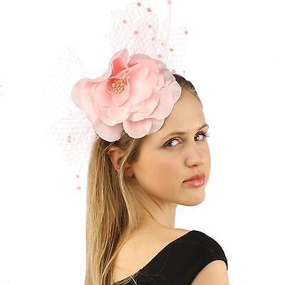 Fancy Standing Fishnet Floral Ribbon Headband Fascinator Millinery Church Pink