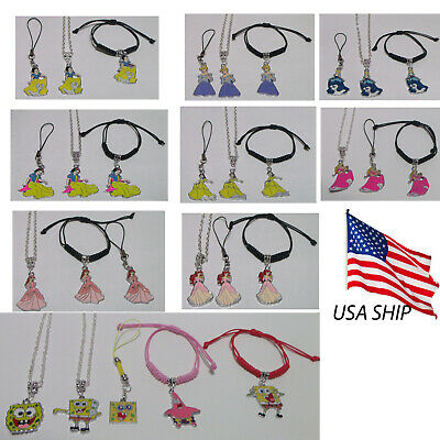 Necklaces For Little Girls (Girls Little Mermaid Cinderella Spongebob Necklaces Bracelets and Phone)