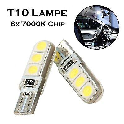 2x T10 6x5050 Chip 7000K 12V Kalt Weiß Innenbeleuchtung hell Top Qualität Lampe