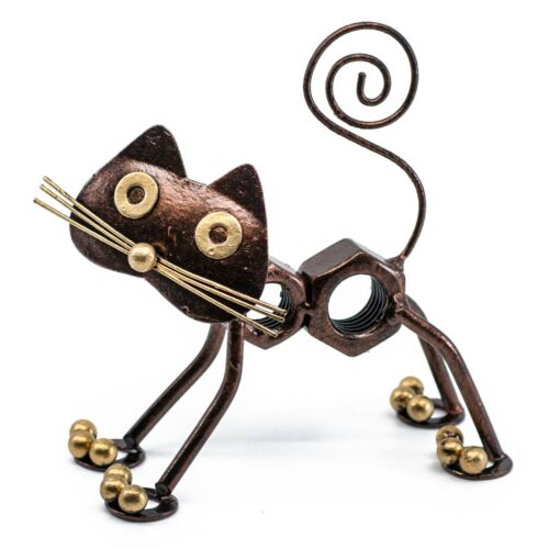 """Hand Crafted Bolt Nuts Cat Figurine Sculpture 5"""" High Cute Tin Metal Animal"""