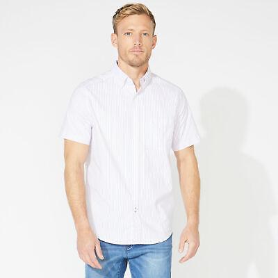 Nautica Mens Classic Fit Short Sleeve Striped Oxford Shirt