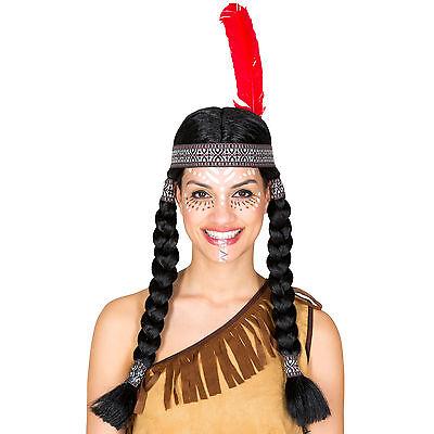 Perücke geflochtene Zöpfe schwarz +Haarband mit Federn Indianerin Squaw Fasching ()